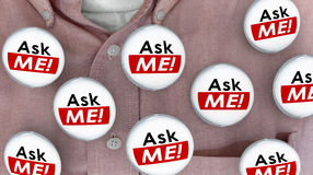 Ask Me Question Customer Support Answers Buttons Pins Stock Photography