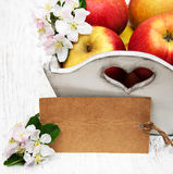 Ask med äpplen Arkivfoto
