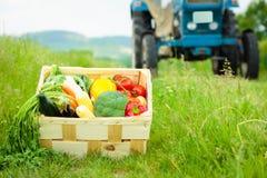 Ask med grönsaker bredvid en traktor Royaltyfri Bild