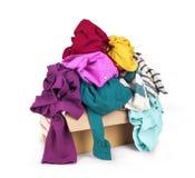 Ask med kläder Royaltyfria Bilder