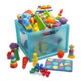 Ask med leksaker Arkivfoton