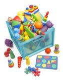 Ask med leksaker Royaltyfri Bild