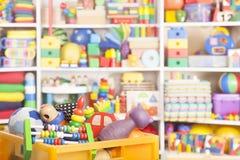 Ask med leksaker Royaltyfria Bilder