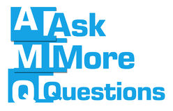 Ask More Questions Blue Abstract Stripes. Ask more questions text written over blue background Stock Image