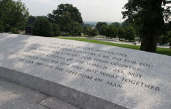 Ask not .... JFK's immortal words in stone at Arlington Cemetary stock photos
