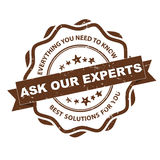 Ask our experts - grunge stamp. Stock Image