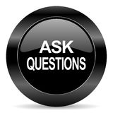 Ask questions icon. Black circle web button on white background ask questions icon Royalty Free Stock Photos