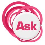 Ask Random Pink Rings. Ask text written over pink background Royalty Free Stock Images