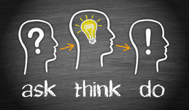 Ask, think, do. Human heads outlined in white on black board with graphics ask, think, do and question mark, light bulb and exclamation point vector illustration