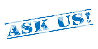 Ask us blue stamp. Isolated on white background Stock Image