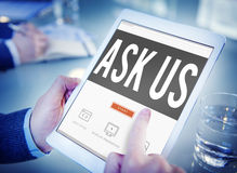Ask Us Inquiries Questions Concerns Contact Concept.  Royalty Free Stock Photo
