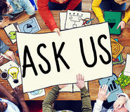 Ask Us Inquiries Questions Concerns Contact Concept Royalty Free Stock Photo