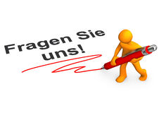 Ask Us Manikin. Orange cartoon character with ballpen and german text Fragen Sie uns, translate aks us Stock Photography
