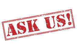 Ask us! red stamp. On white background Royalty Free Stock Photos
