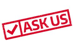 Ask Us rubber stamp. Grunge design with dust scratches. Effects can be easily removed for a clean, crisp look. Color is easily changed Stock Image