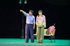 Ask the way-Jiangxi OperaBlue coat Royalty Free Stock Photo