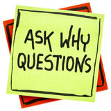Ask why question advice or reminder. Handwriting in black ink on an isolated sticky note royalty free illustration