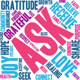 Ask Word Cloud. On a white background Royalty Free Stock Photos