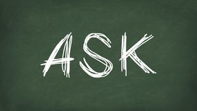 Ask word concept. ASK written on the chalkboard. Use for cover, banner, blog.  vector illustration