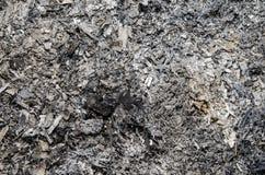 Aska i en slocknad brand Arkivbild