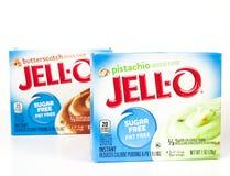 Askar av det Jello märket Sugar Free Pudding Mix arkivfoto