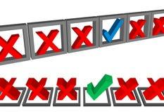 askar den choice påfyllningsdatalistan som för kontrollen markerar sets, röstar ut Royaltyfri Foto