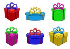 askar färgade mång- olika datalistor royaltyfri illustrationer