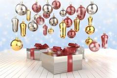 Askar för gåva för nytt år för jul färgrika med pilbågar av band och gåvor för julträd på den blåa bakgrunden illustration 3d Royaltyfri Foto