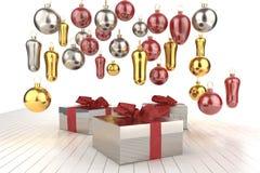 Askar för gåva för nytt år för jul färgrika med pilbågar av band och gåvor för julträd på den vita bakgrunden illustration 3d Royaltyfri Fotografi