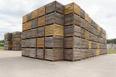 Askar för potatoelagring Arkivfoto