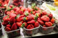 Askar med jordgubbar på marknader stannar, den Barcelonas marknaden, Spanien Royaltyfri Foto