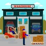 askar som bygger för logistiklagring för begrepp det industriella lagret Lastbransch Arbetare på gaffeltrucken stock illustrationer