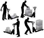 askar som fyller på arbetare stock illustrationer