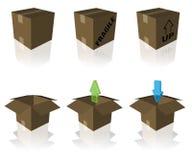 askar som mottar sändnings Arkivbild