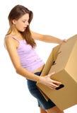 askar som packar packa upp kvinnan Royaltyfri Fotografi