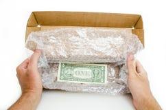 Askbeställning med dollarbillen Arkivbilder