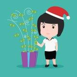 Asken för gåvan för pengar för affärsfolk, jul semestrar Arkivbilder
