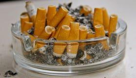 Askfat mycket av cigaretter royaltyfri bild