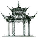 askfat Tempel på en vit bakgrund Japan Kina vektor illustrationer