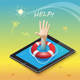 Asking for help. 3d isometric mobile web surfer infographics concept Stock Images