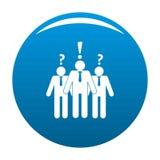 Asking teamwork icon blue. Asking teamwork icon. Simple illustration of asking teamwork icon for any design blue stock illustration