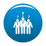 Asking teamwork icon vector blue. Asking teamwork icon. Simple illustration of asking teamwork vector icon for any design blue Royalty Free Stock Photos