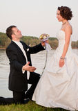 Asking and woo. Woo. A husband asks her new wife's hand next to the river Royalty Free Stock Images