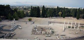 Asklepieion en panorama van stad Kos, Griekenland Royalty-vrije Stock Foto
