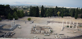 Asklepieion and panorama of city Kos, Greece. Asklepieion (Asclepeion), Kos, Greece, Hippocrates school of medicine (healing temple, sacred to the god Asclepius Royalty Free Stock Photo