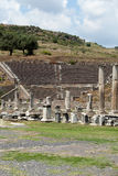 asklepion pergamum期间手段罗马圣所某事温泉剧院查看是 免版税库存照片