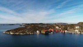 Askoy海岛海岸线全景在挪威 库存照片