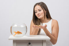 She asks goldfish fulfill the desire Royalty Free Stock Photo