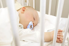 Asleep. Baby sleeping in cot with pacifier in its mouth Royalty Free Stock Photography