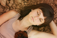 Asleep beauty woman Royalty Free Stock Photography